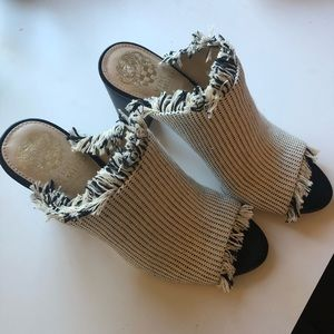 White and black Vince Camuto mules 7